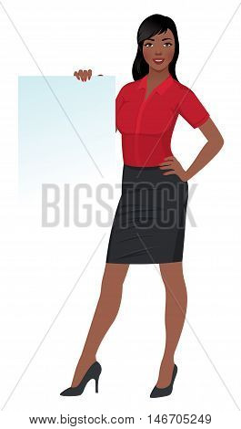 Woman businessman holding a white banner Stock vector illustration