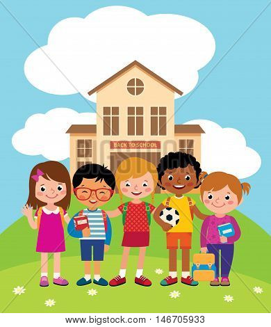 Group of happy children standing in front of the school building Stock vector illustration