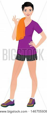 Woman athlete in training clothes shows sign okay Stock vector illustration