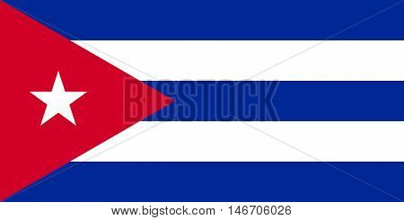 Flag of Cuba in correct size proportions and colors. Accurate official standard dimensions. Cuban national flag. Patriotic symbol banner element background. Vector illustration