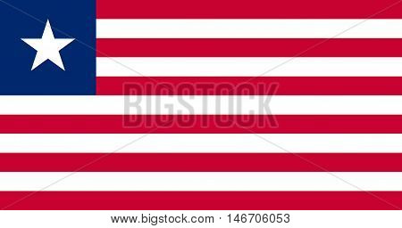 Flag of Liberia in correct size proportions and colors. Accurate official standard dimensions. Liberian national flag. African patriotic symbol banner element background. Vector illustration