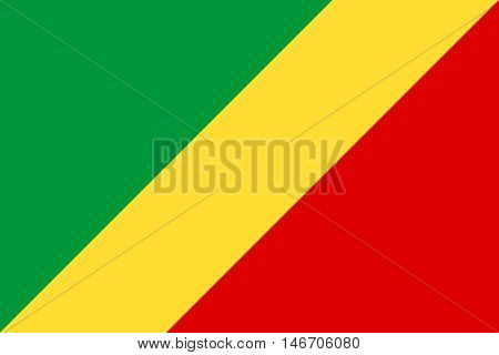 Flag of Republic of the Congo correct size proportion and colors. Accurate official standard dimensions. Congo-Brazzaville national flag. African patriotic symbol banner element background. Vector