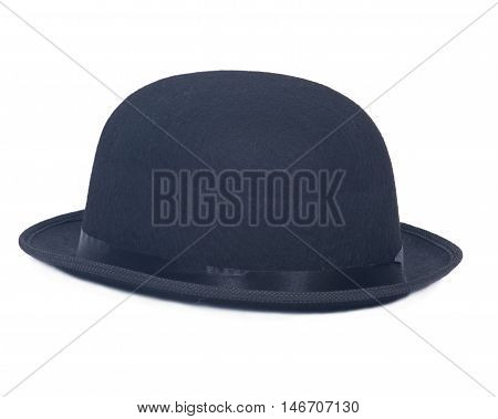 Classic black bowler hat on white background