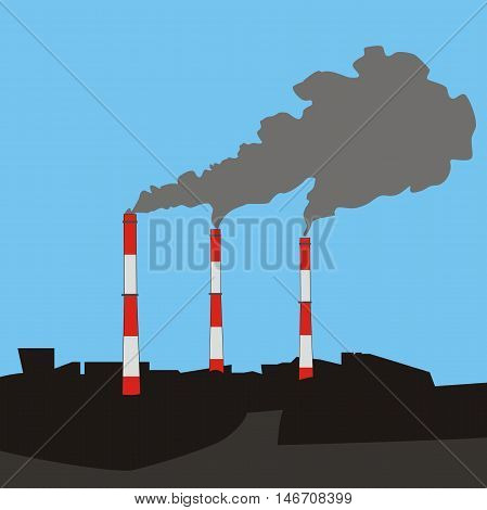 Vector illustration urban landscape with three flue gas stacks air pollution at sky background