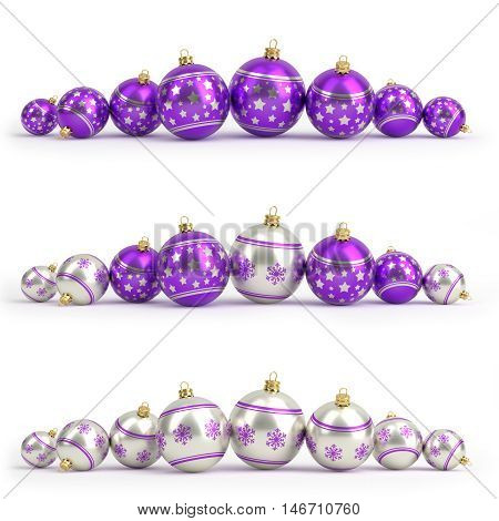 Collection of purple and silver christmas balls. White isolated - 3D render