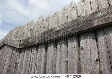A wooden palisade on Mackinac Island, Michigan