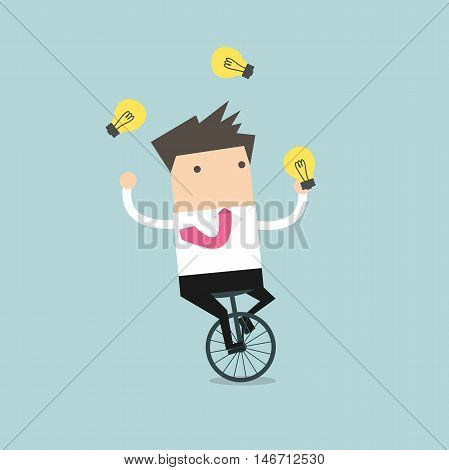 Businessman juggling light bulb while cycling vector