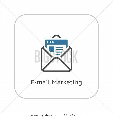 Email Marketing Icon. Flat Design Isolated Illustration. App Symbol or UI element. Envelope with message.