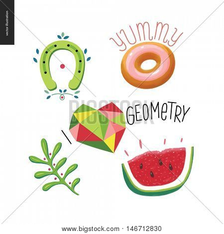 Patches, hand drawn vector stickers set. A set of five cartoon hand drawn elements. Doughnut with note Yummy, geometric heart with lettering I love Geometry, watermelon, plant, and a horseshoe