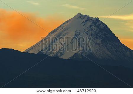 Kamen volcano on the background of sunrise. Kluchevskaya group of volcanoes