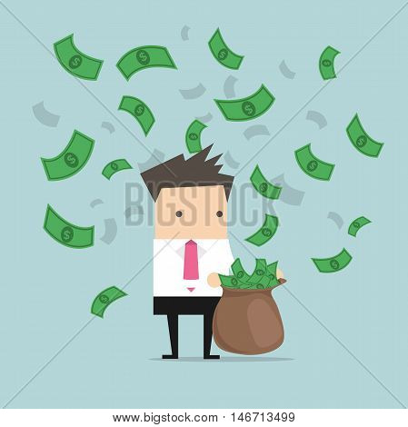 Businessman catching money in a sack vector
