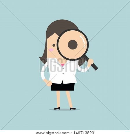 Businesswoman looking through a magnifying glass vector