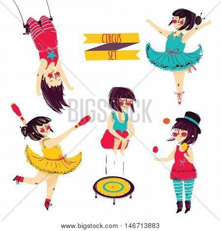 Cute circus set. Girl acrobat juggler vector