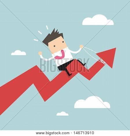 Businessman riding success arrow graph. vector illustration