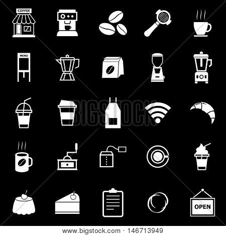 Coffee shop icons on black background, stock vector