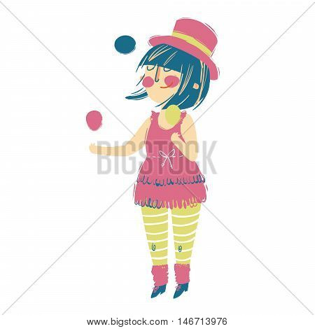 Vector juggler girl Cartoon Illustration. isolated on a white background