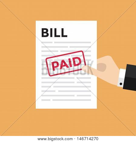 Hand holding a sheet of paper with Bill headline and paid stamp
