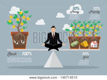 Rebalancing portfolio asset allocation. Business concept vector illustration