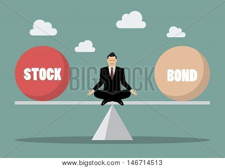 Rebalancing portfolio between stock and bond. Business concept