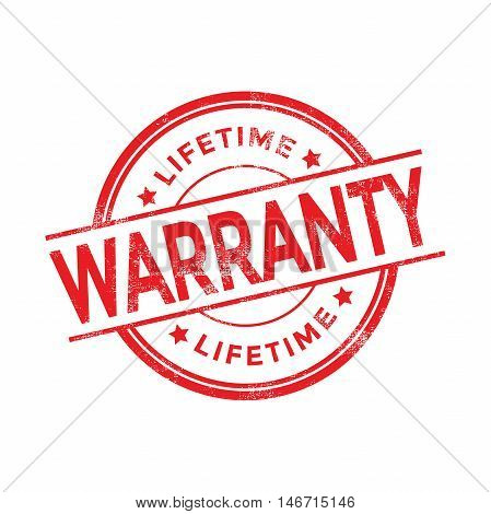 Lifetime Warranty red rubber stamp isolated. vector illustration