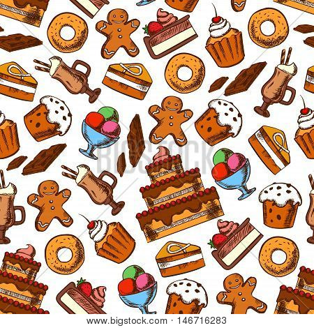 Cakes and desserts seamless pattern on white background with tiered cake, cupcake, muffin and donut with cream, raisin and fruits, coffee cocktail, chocolate bar, ice cream sundae and gingerbread man