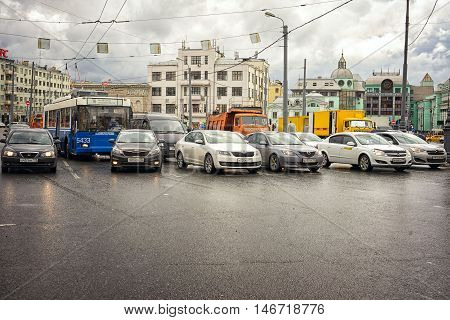 Moscow Russia - June 11 2016: cars on the street near the Belorussky Railway Station. With a lot of copy space in the bottom.