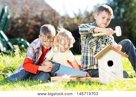 Kids boys making birdhouse together sitting on the grass. Oldest child teaches youngest brother to work with tools