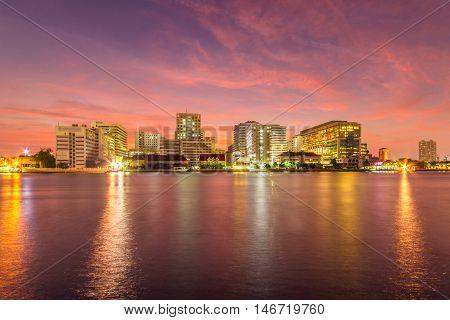 Siriraj Hospital Public Hospital at twilight time in the river Bangkok Thailand