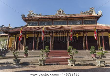 Hue, Vietnam- January 5, 2015: Gates of Tu Dam pagoda in Hue town