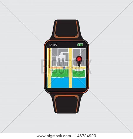 Navigation logo at smart watch. Geolocation vector sign. Isolated smart watch icon. Vector eps10 illustration. Vector geo symbol.