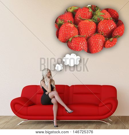 Woman Craving Strawberries and Thinking About Eating Food 3D Illustration Render