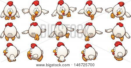 Cartoon chicken sprites ready for animation. Vector clip art illustration with simple gradients. Each element on a separate layer.