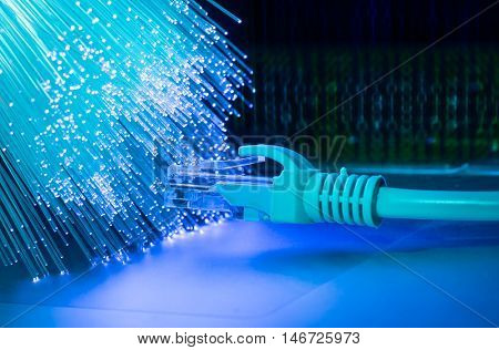 network cable on multicolor fiber optics