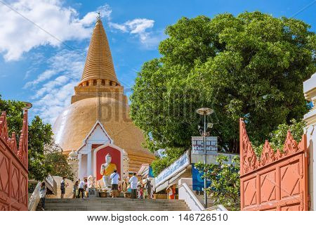 "Nakornpathom - June 25: Phra Pathom Chedi Called ""phra Thom Chedi"",great Sacred Stupa Of Suvarnabhum"