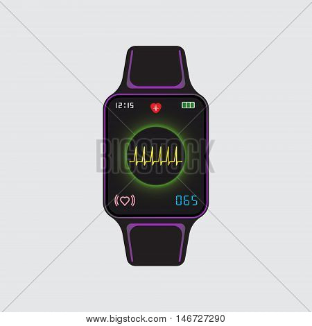 Smart watch icon with pulse monitor application. Smart watch vector logo. Vector eps10 illustration. Heart beat symbol. Arrhythmia indicator pictogram. Isolated smart watch sign.