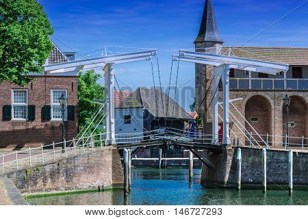 Double Drawbridge in Netherlands Zierikzee. Entrance to the historic port town.