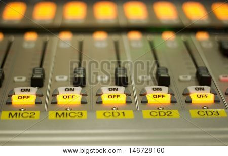 The Audio Sound Mixer for radio station