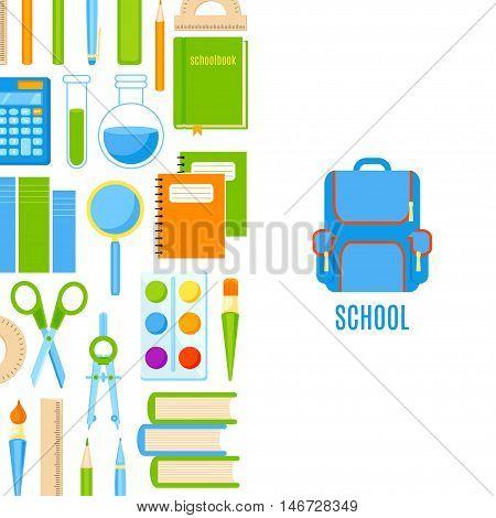 School baner with school supplies vector design. School background