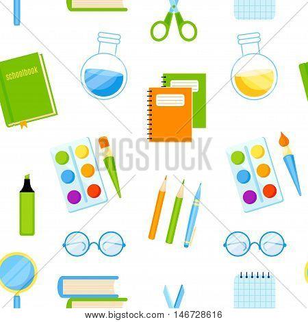School baner with supplies vector design. School background