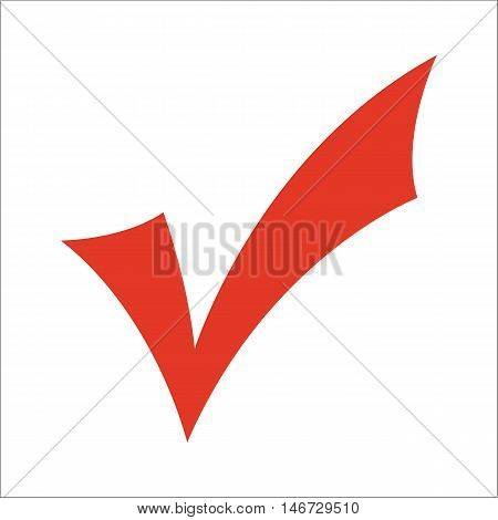Red check mark isolated on white background