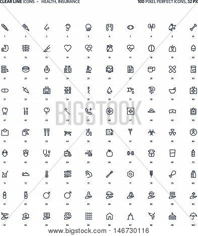 Health And Insurance Clear Line Icons