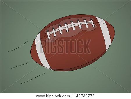 Flying americal football ball against greenish background