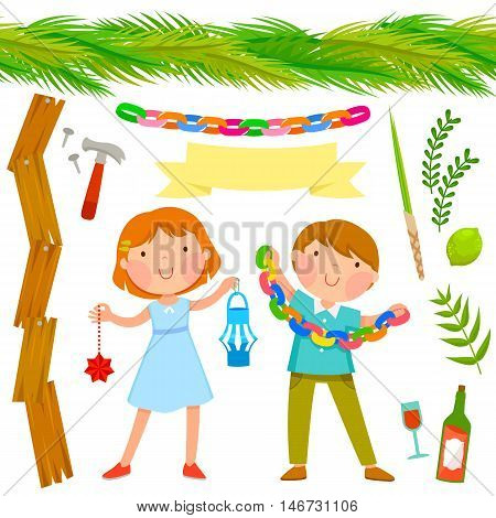 set of Sukkot symbols with two kids holding decorations and seamless palms roof