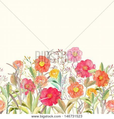 Vector seamless floral border. Isolated roses and wild flowers drawn watercolor. Design for invitation wedding or greeting cards.