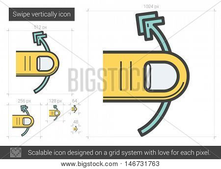 Swipe vertically vector line icon isolated on white background. Swipe vertically line icon for infographic, website or app. Scalable icon designed on a grid system.