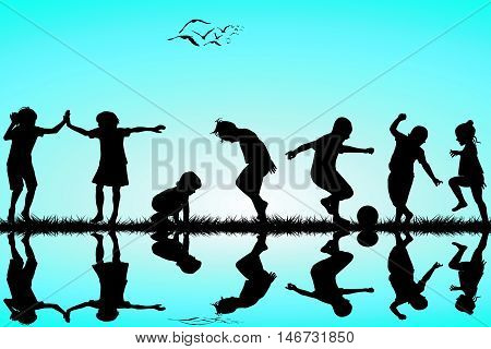 Group of black children silhouettes playing outdoor