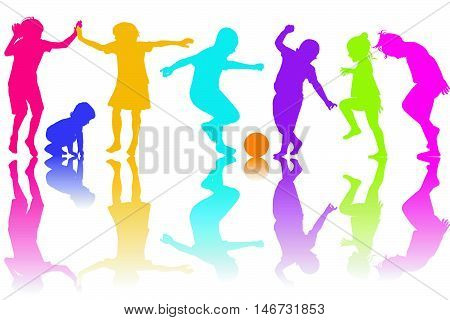 Set of silhouettes of colored children playing