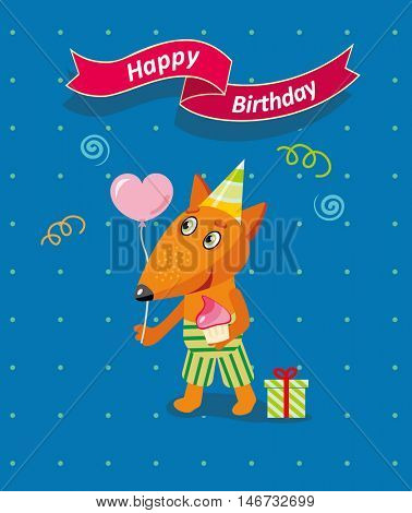 Happy birthday card with cute fox