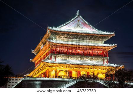 Xian drum tower (guluo) in Xian ancient city of China at night