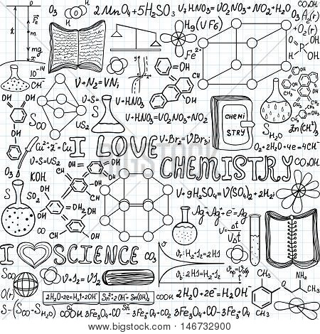 Chemistry vector seamless pattern with formulas, calculations and laboratory equipment,